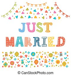 Just married Cute greeting card Vector illustration