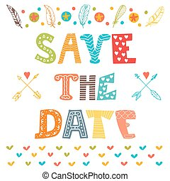 Save the date. Wedding invitation card with cute background