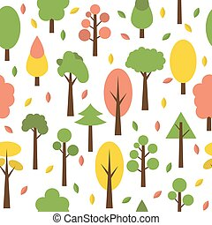 Seamless tree pattern in flat style. Cute background for your design