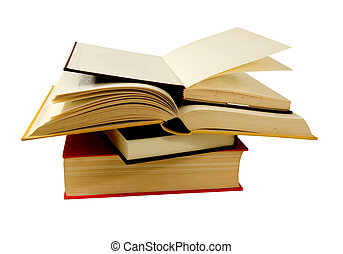 books and books! - open and closed books on a white...