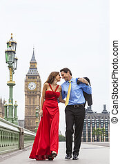 Romantic Couple on Westminster Bridge by Big Ben, London, England