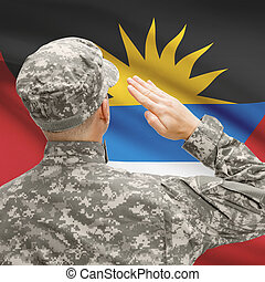 Soldier in hat facing national flag series - Antigua and...