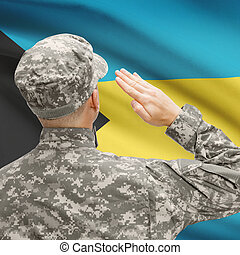 Soldier in hat facing national flag series - Bahamas -...