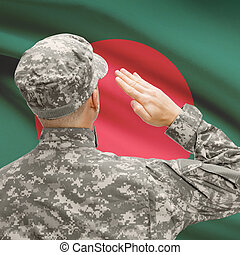 Soldier in hat facing national flag series - Bangladesh -...
