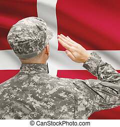 Soldier in hat facing national flag series - Denmark -...