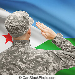 Soldier in hat facing national flag series - Djibouti -...