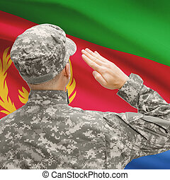 Soldier in hat facing national flag series - Eritrea -...