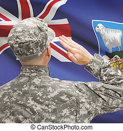 Soldier in hat facing national flag series - Falkland...