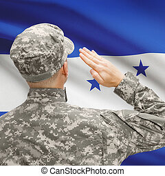 Soldier in hat facing national flag series - Honduras -...