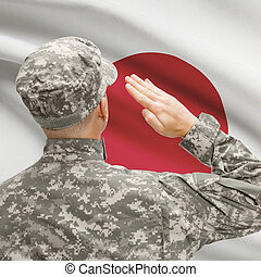 Soldier in hat facing national flag series - Japan -...