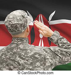 soldado, en, sombrero, entretela, nacional, bandera, serie,...