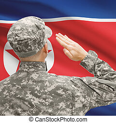 Soldier in hat facing national flag series - North Korea -...