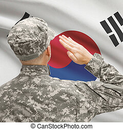 Soldier in hat facing national flag series - South Korea -...