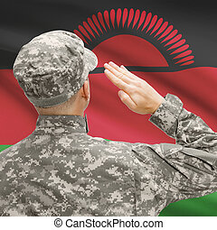 Soldier in hat facing national flag series - Malawi -...