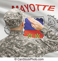 Soldier in hat facing national flag series - Mayotte -...