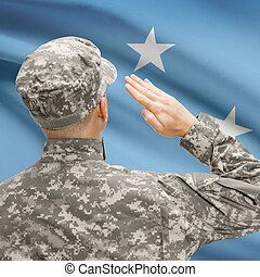 Soldier in hat facing national flag series - Micronesia -...