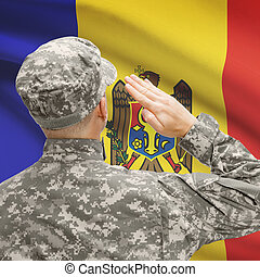 Soldier in hat facing national flag series - Moldova -...