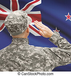 Soldier in hat facing national flag series - New Zealand -...