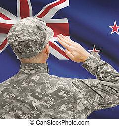 Zealand, serie, nacional, -, entretela, soldado, bandera,...