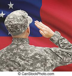 soldato, in, cappello, prospiciente, nazionale, bandiera,...