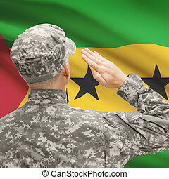 Soldier in hat facing national flag series - Sao Tome and...