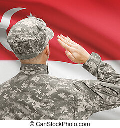 Soldier in hat facing national flag series - Singapore -...