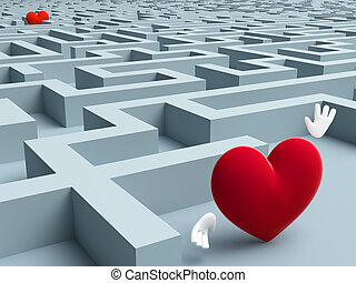 Two hearts who are looking for each other in the maze of...