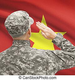 serie, nacional, -, entretela, soldado, bandera, vietnam,...