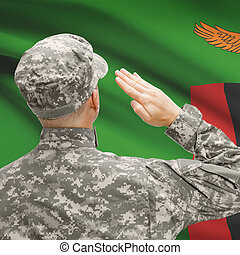 Soldier in hat facing national flag series - Zambia -...