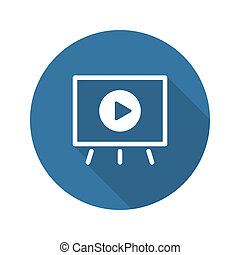 Video Presentation Icon Business Concept Flat Design Long...