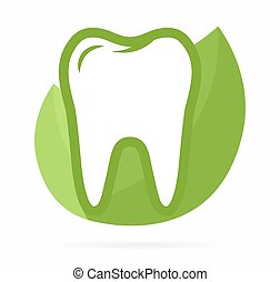 Logo combination of tooth on green leafs - Vector logo or...