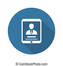 Business Profile Icon Concept Flat Design Long Shadow -...