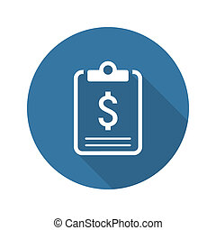 Business Plan Icon Concept Flat Design Long Shadow -...