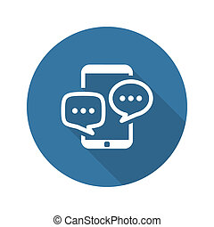 Discussion Icon Business Concept Flat Design Long Shadow...