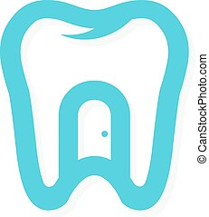 Vector tooth logo with the door at home. Dental health concept