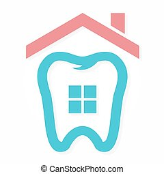 Logo combination of house and tooth - Vector logo or icon...