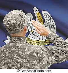 Soldier saluting to US state flag series - Louisiana