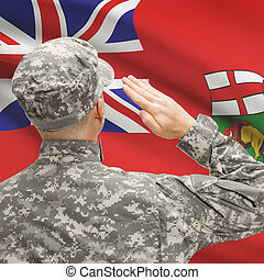 Soldier saluting to Canadial province flag series - Manitoba...