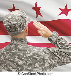 Soldier saluting to US state flag series - District of Columbia