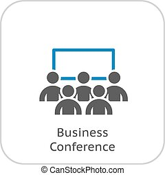 Business Conference Icon. Online Learning. Flat Design....