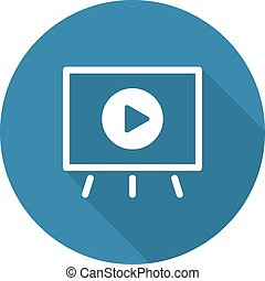 Video Presentation Icon. Business Concept. Flat Design. Long...