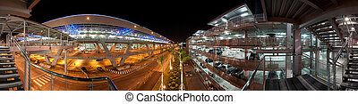 urban parking garage - panoramic photo of an urban parking...