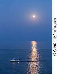 ship in Black Sea at moonlight night - ship in Black Sea at...