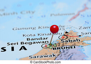 Brunei pinned on a map of Asia - Photo of pinned Brunei on a...