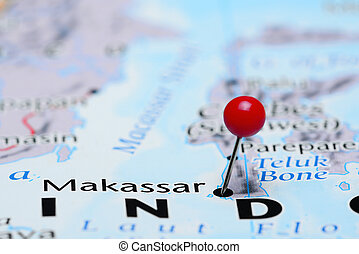 Makassar pinned on a map of Asia - Photo of pinned Makassar...