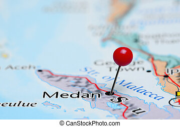 Medan pinned on a map of Asia - Photo of pinned Medan on a...
