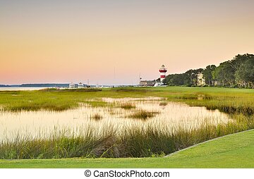 A Candy Strip View - Sunset view of the 18th hole at Harbor...