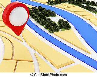 3D, navegante, mapa, y, indicador, marcador, en, city.,