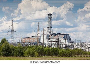 Chernobyl power plant view Summer season Ukraine Chernobyl...