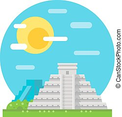 Chichen Itza flat design landmark illustration vector